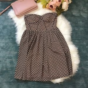 ModCloth Minuet Pink & Navy Heart Strapless Dress
